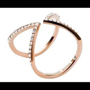 Michael Kors Rose Gold Open Arrow Crystal Ring